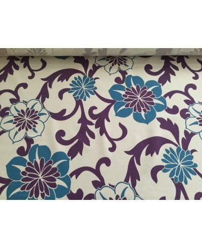 Tkanina dekoracyjna wzór-kwiaty fioletowo-niebieskie na białym