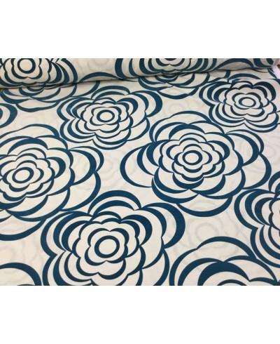 Wyprzedaż Tkanina dekoracyjna kwiaty aksamitne w kolorze ciemny turkus-szer 290 cm