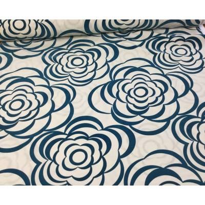 Tkanina dekoracyjna kwiaty aksamitne w kolorze ciemny turkus-szer 290 cm