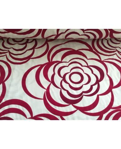 Tkanina dekoracyjna kwiaty aksamitne w kolorze bordo