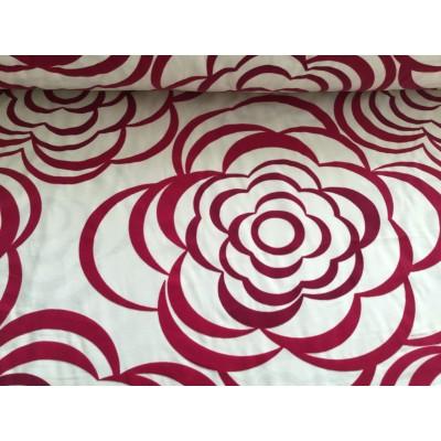 Tkanina dekoracyjna kwiaty aksamitne w kolorze bordo szer 290 cm