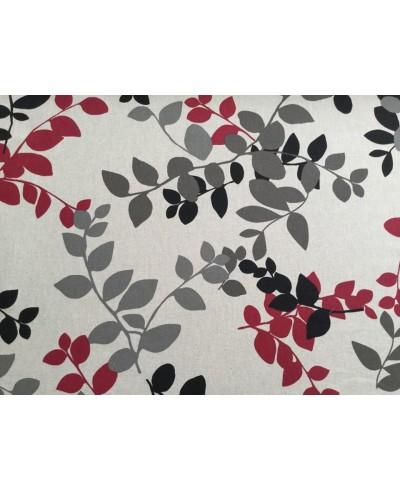 Tkanina dekoracyjna -wzór-liście na beżu